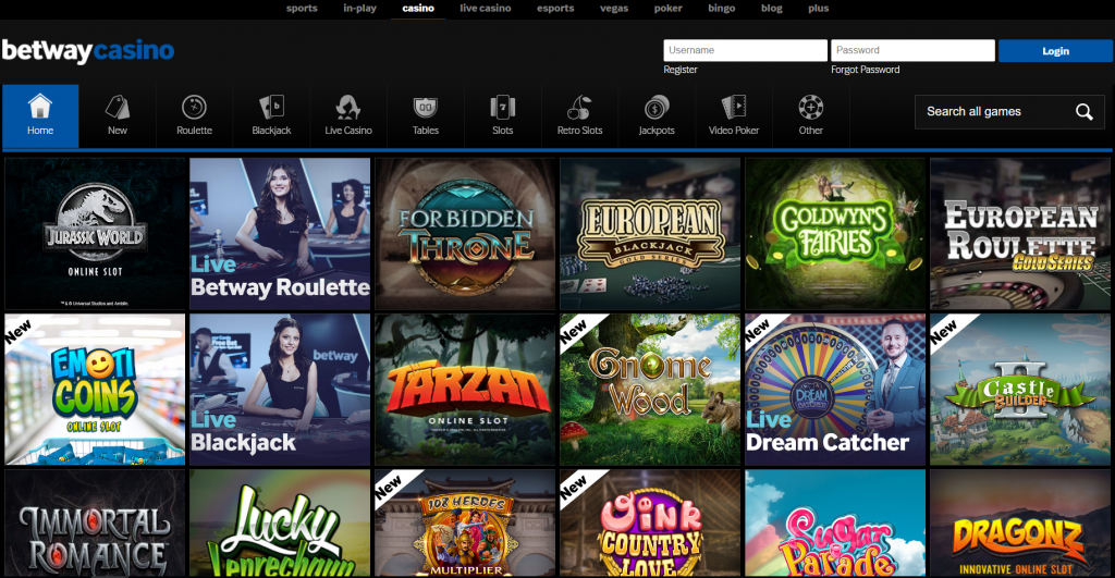 betway casino selection of slot games