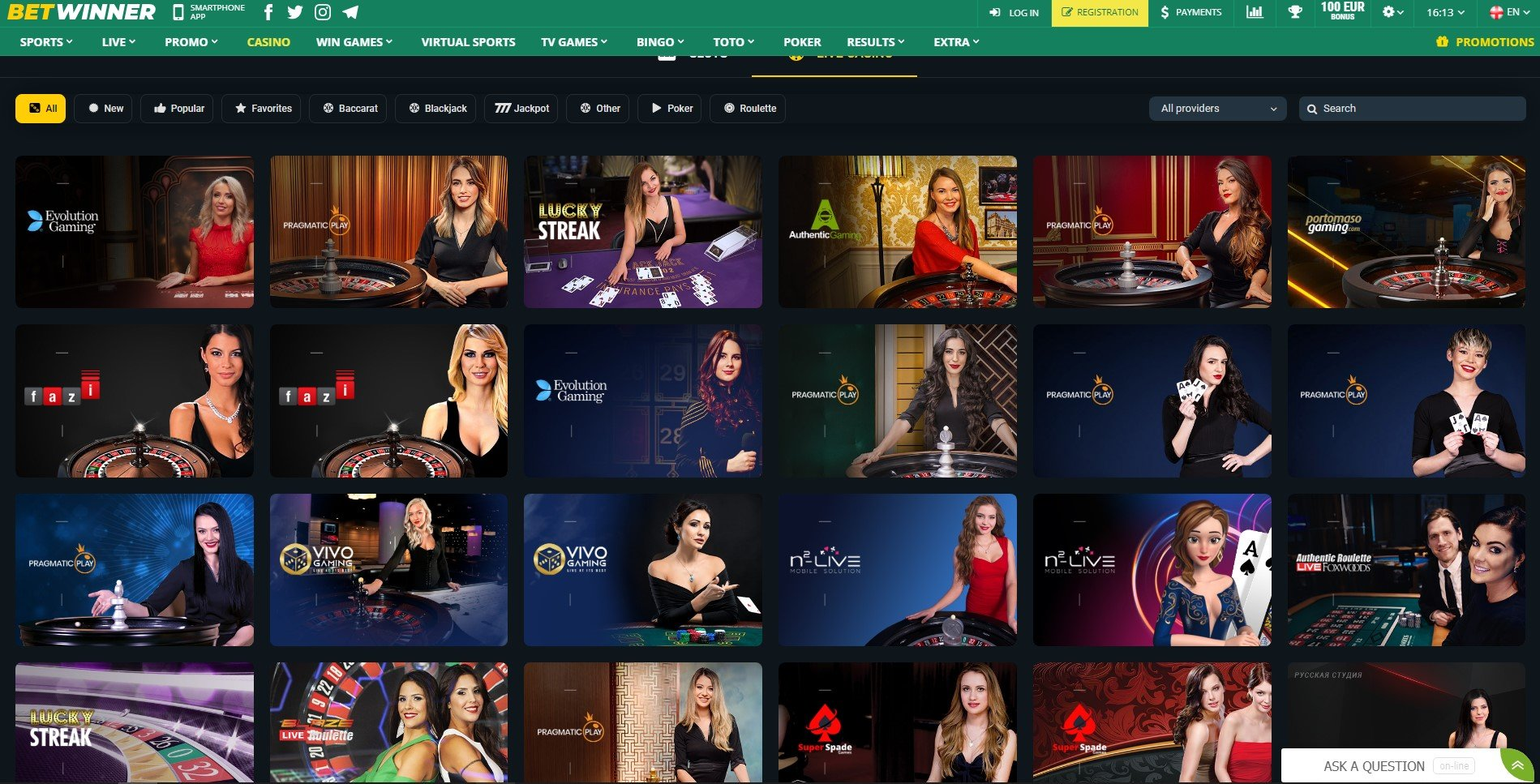 betwinner casino live games